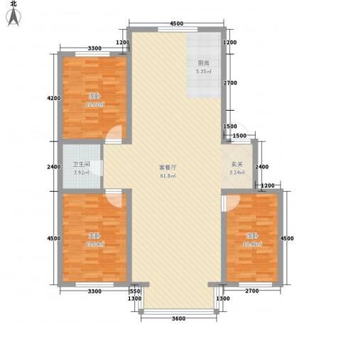 南风新苑3室1厅1卫0厨122.00㎡户型图