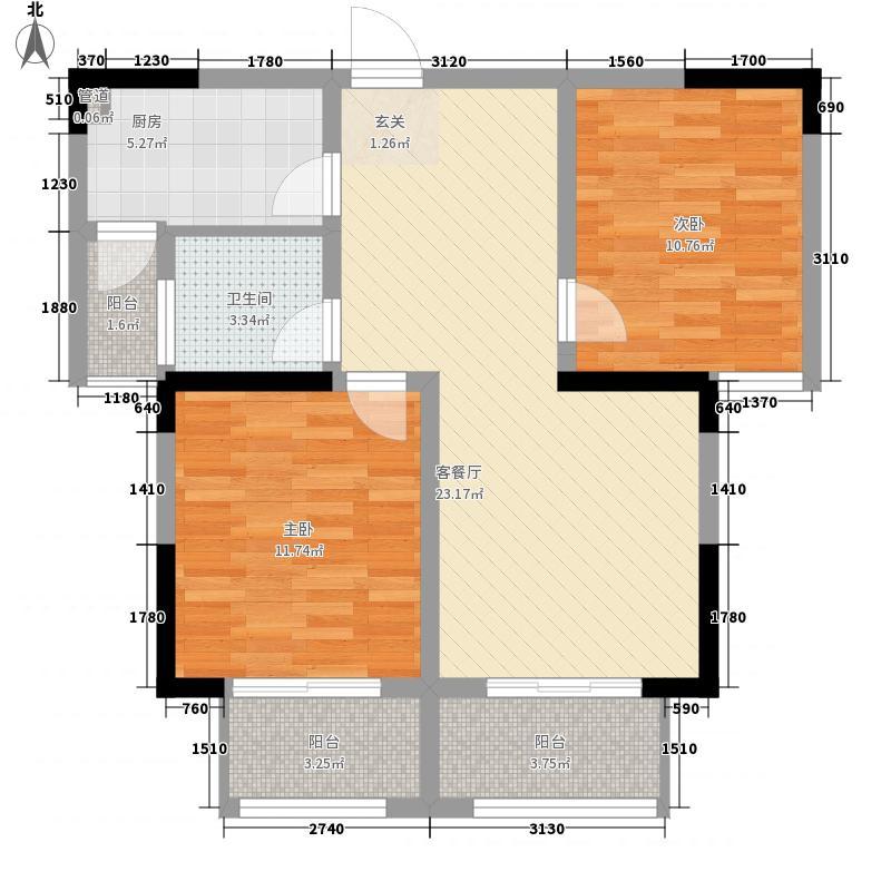 恒园・鸿景港湾32.16㎡C3户型2室2厅1卫1厨