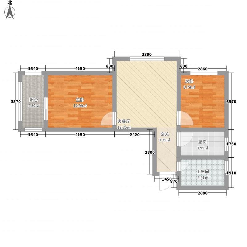 金岭秀水78.00㎡D户型2室2厅1卫1厨