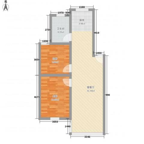 城市新贵2室1厅1卫0厨78.00㎡户型图