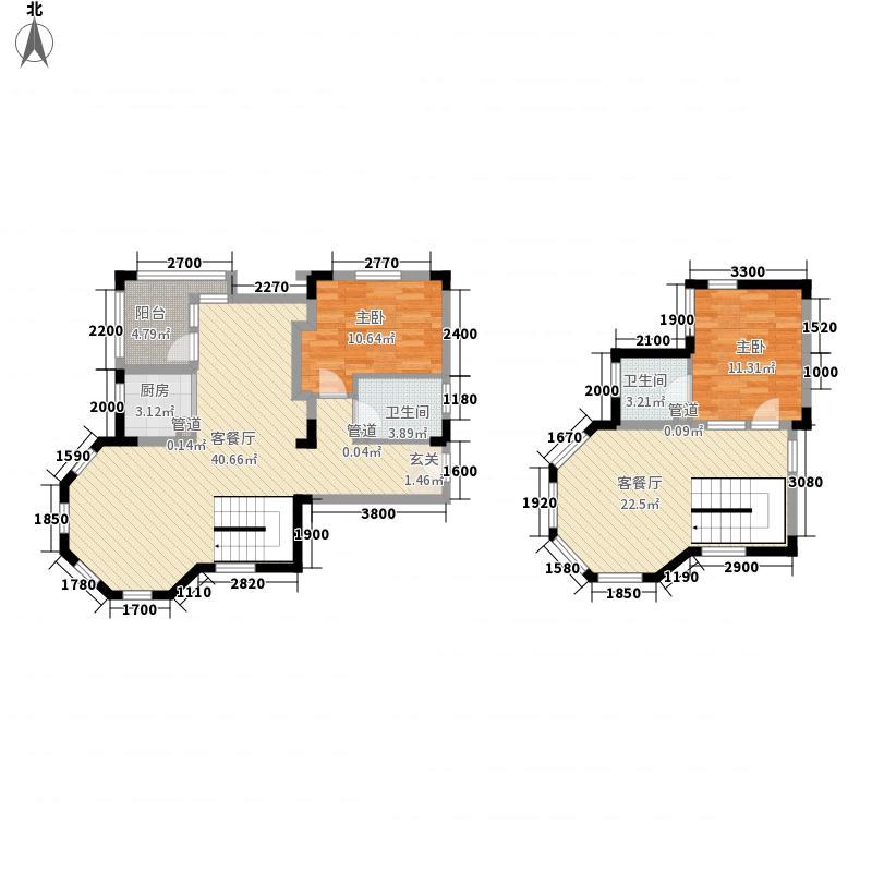 纳尼亚小镇14.00㎡公寓H户型2室3厅2卫1厨