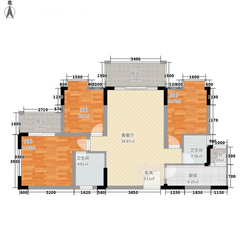 鸿苑遵邸112.46㎡户型3室3厅3卫1厨