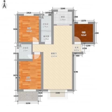 林峰雅居3室2厅2卫1厨76.00㎡户型图