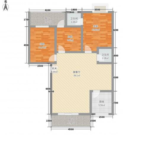 荷塘月色3室1厅2卫1厨132.00㎡户型图