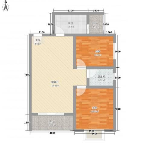 荷塘月色2室1厅1卫1厨95.00㎡户型图
