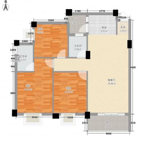 远洋・滨海国际3室1厅2卫0厨84.20㎡户型图