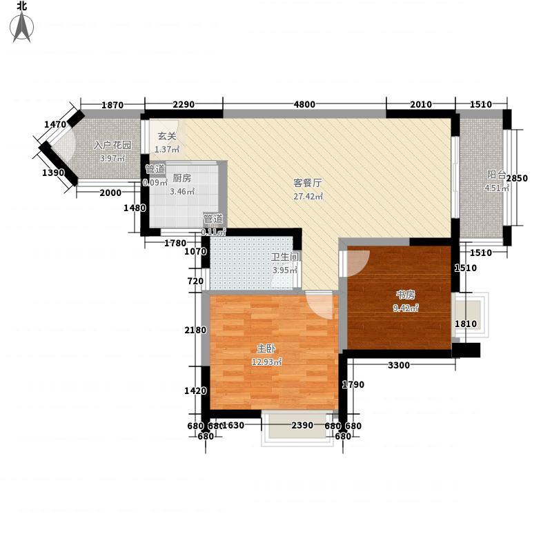 翰城国际622187.25㎡6E户型2室2厅1卫