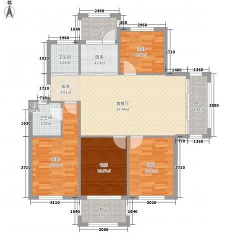 圣汐澜山4室1厅2卫1厨126.00㎡户型图