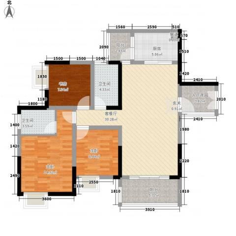 翰城国际3室1厅2卫1厨13219.00㎡户型图