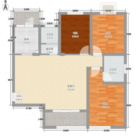 翰林缘花园3室2厅2卫1厨122.00㎡户型图