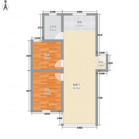 城市新贵2室1厅1卫0厨88.00㎡户型图
