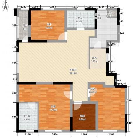 新世纪花园4室1厅2卫1厨158.00㎡户型图