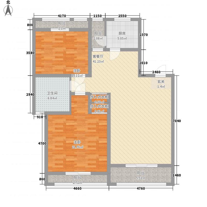 领世公馆12.00㎡D户型2室2厅1卫