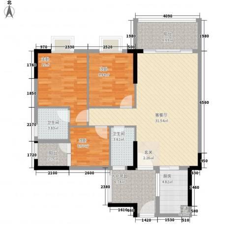 绿洲清庭3室1厅2卫1厨126.00㎡户型图