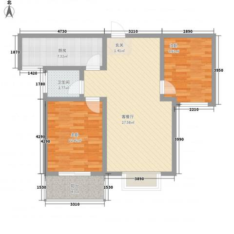 九�倾城2室1厅1卫1厨64.02㎡户型图