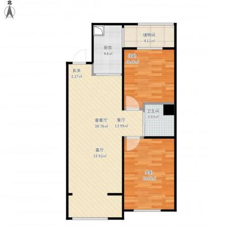 唐轩首府2室1厅1卫1厨90.00㎡户型图