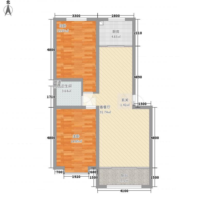 和润新城3.43㎡和润II期E户型2室2厅1卫1厨