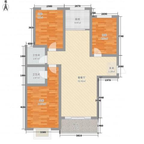 九�倾城3室1厅2卫1厨115.00㎡户型图