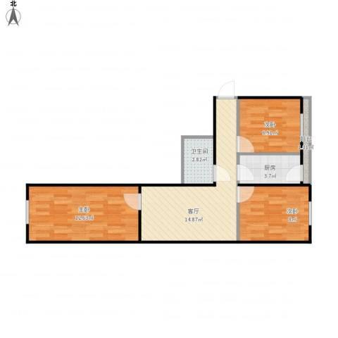 香榭里3室1厅1卫1厨69.00㎡户型图