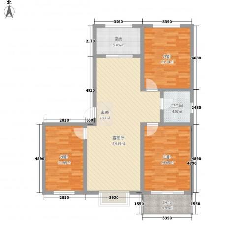 九�倾城3室1厅1卫1厨127.00㎡户型图