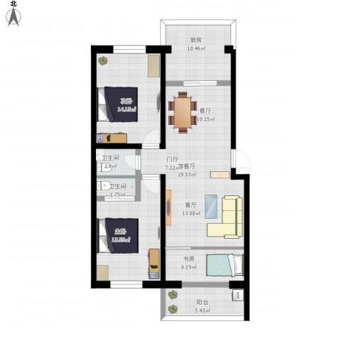 东方花园3室1厅2卫1厨119.00㎡户型图