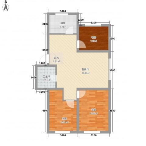 南风新苑3室1厅1卫1厨88.00㎡户型图
