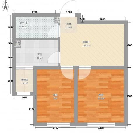 南风新苑2室1厅1卫1厨65.00㎡户型图