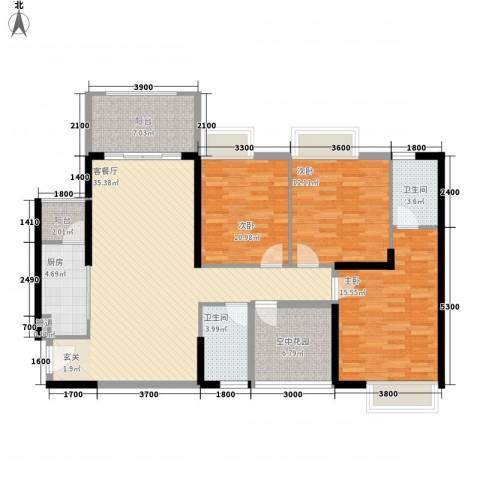 天湖御林湾3室1厅2卫1厨1129.00㎡户型图