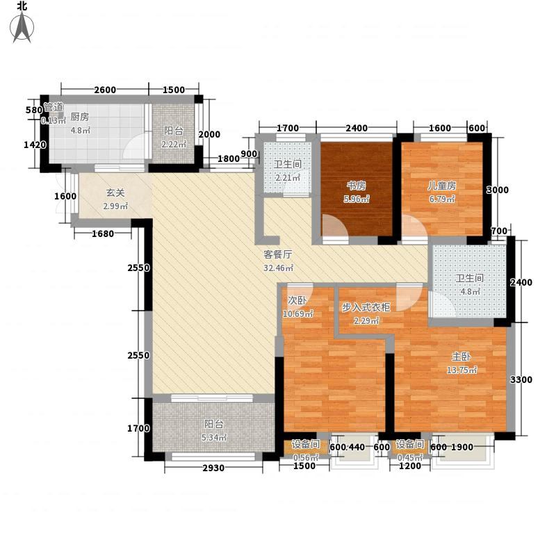 圣名国际广场118.76㎡2号楼L4户型2室2厅2卫1厨