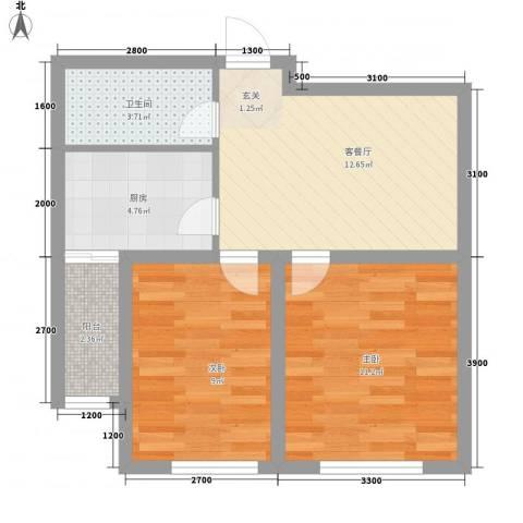 南风新苑2室1厅1卫1厨63.00㎡户型图