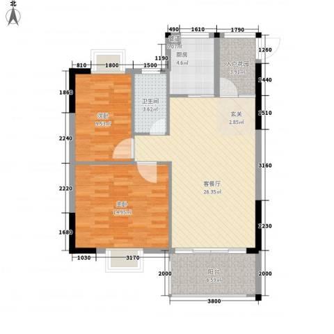 绿洲清庭2室1厅1卫1厨97.00㎡户型图