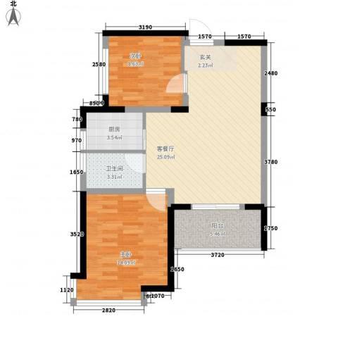 江南经典花园2室1厅1卫1厨86.00㎡户型图