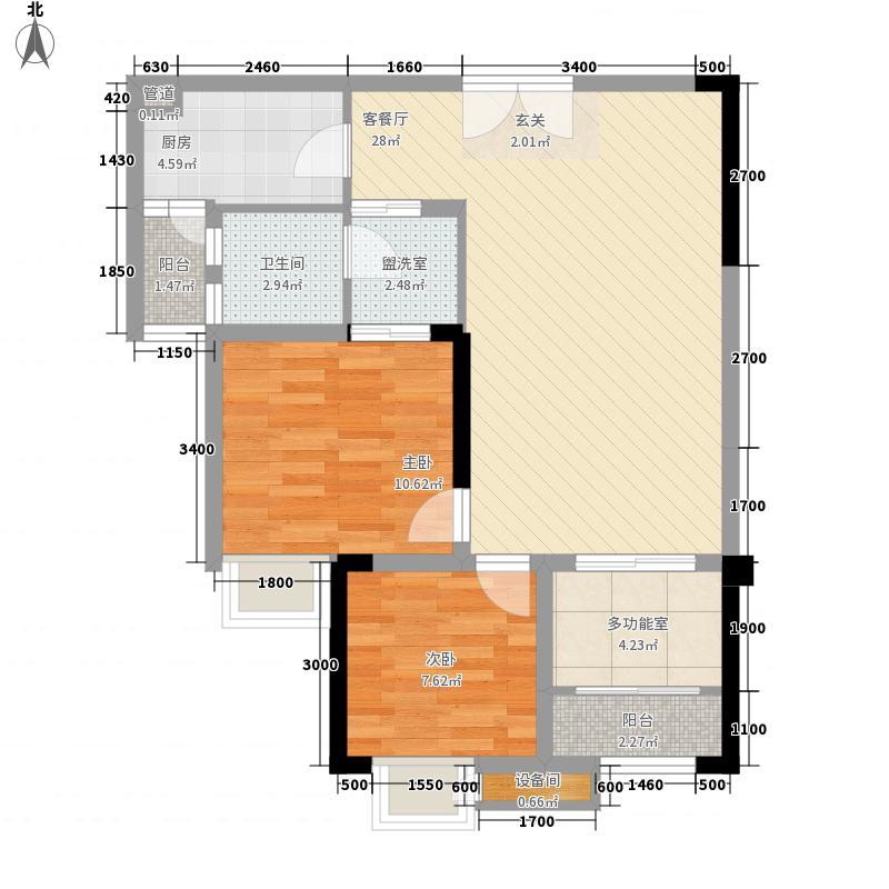 圣名国际广场83.46㎡4号楼D3户型2室2厅1卫1厨