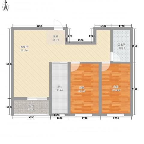 万宏俪城2室1厅1卫1厨64.43㎡户型图