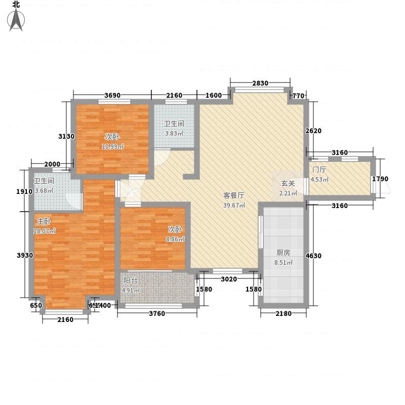 中安鸣翠苑147.00㎡J户型3室2厅2卫1厨