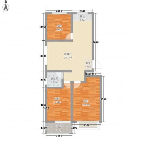 万宏俪城3室1厅1卫0厨72.75㎡户型图