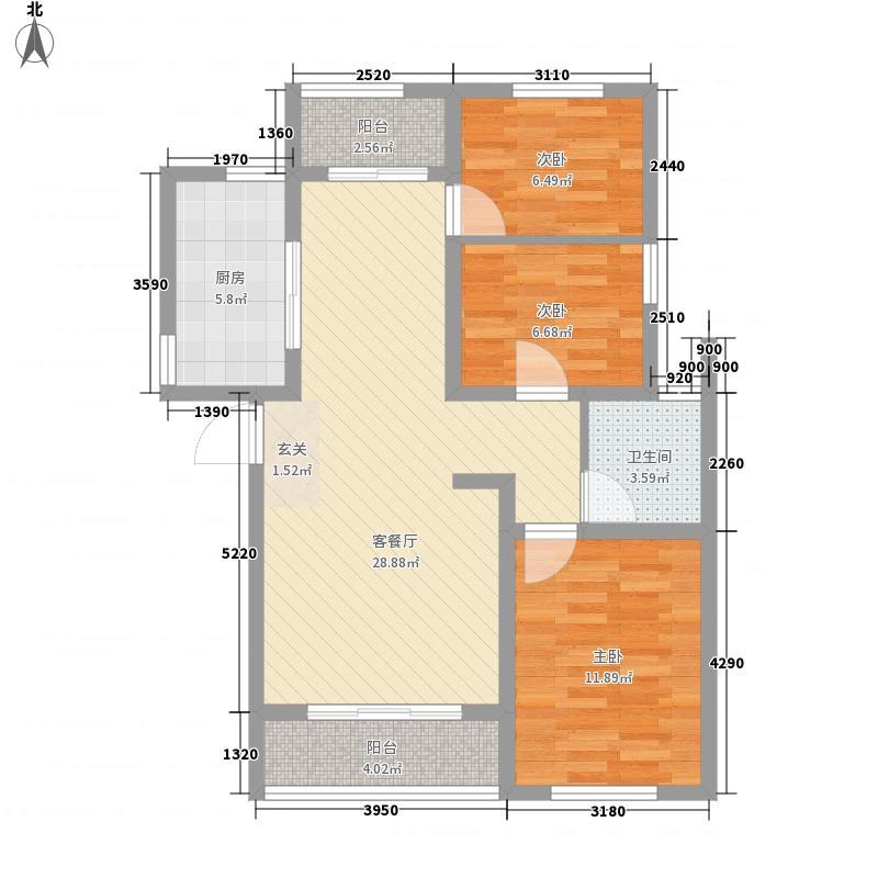 日百・五莲新玛特花园15.00㎡户型3室2厅1卫
