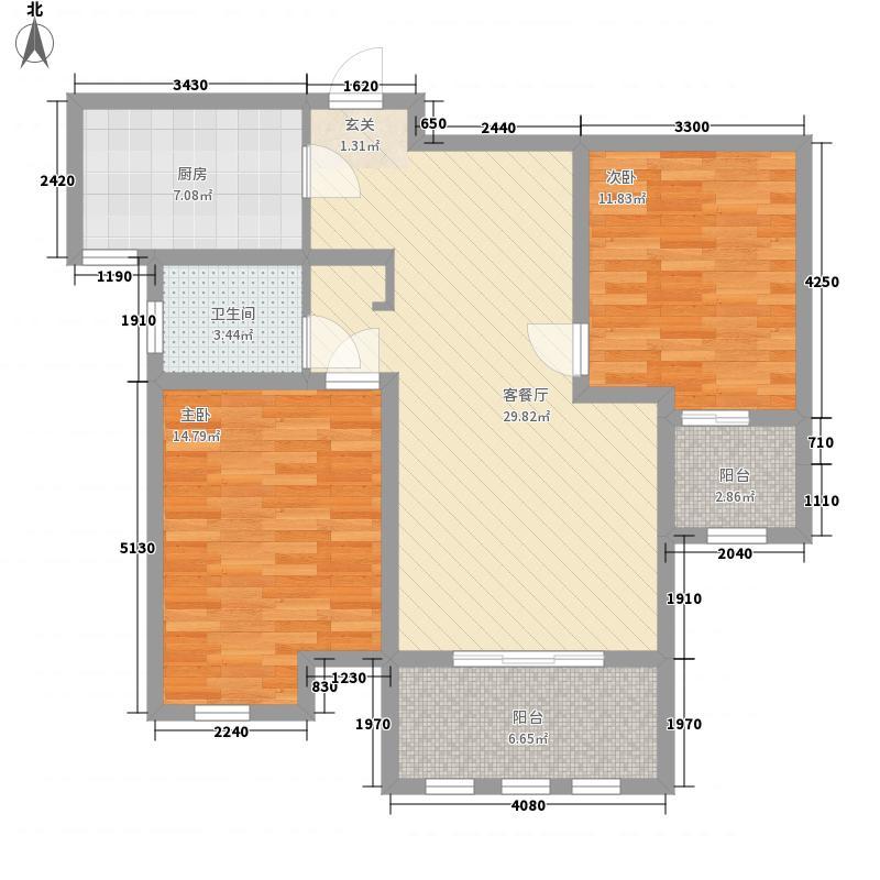 中安鸣翠苑11.00㎡D户型2室2厅1卫1厨