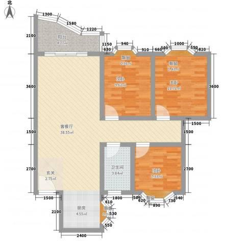 凯宏苑3室1厅1卫0厨74.82㎡户型图