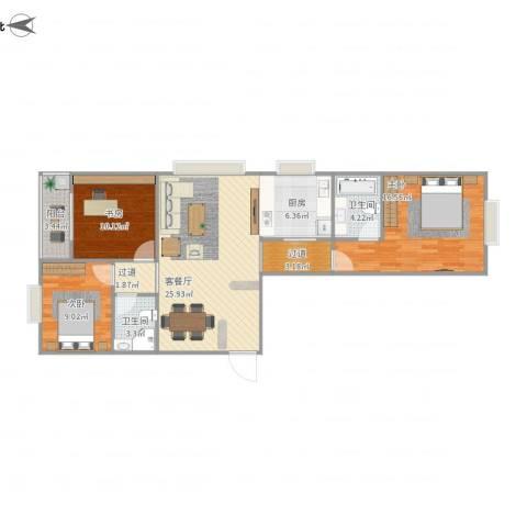 尚品国际3室1厅2卫1厨90.90㎡户型图