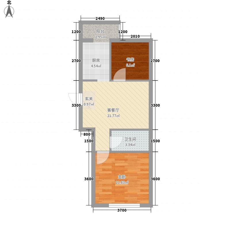 南台花园57.50㎡3#C1户型2室1厅1卫