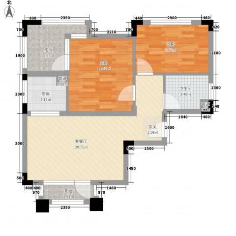 纳尼亚小镇2室1厅1卫1厨81.00㎡户型图