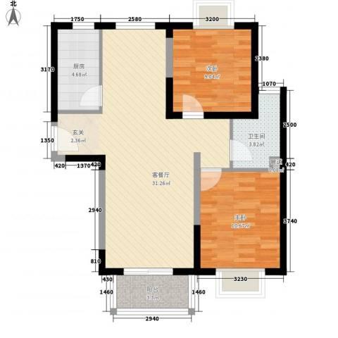 隆兴宜居2室1厅1卫1厨62.86㎡户型图