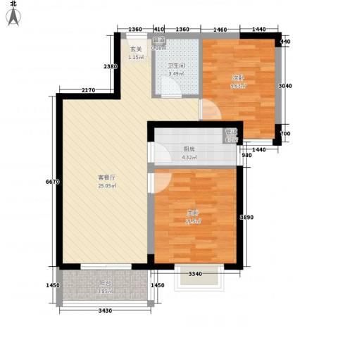 隆兴宜居2室1厅1卫1厨84.00㎡户型图