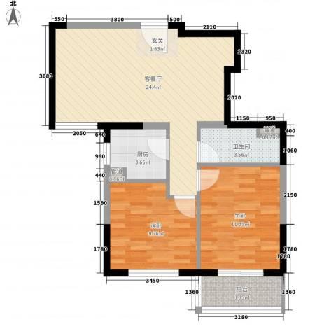 隆兴宜居2室1厅1卫1厨56.44㎡户型图