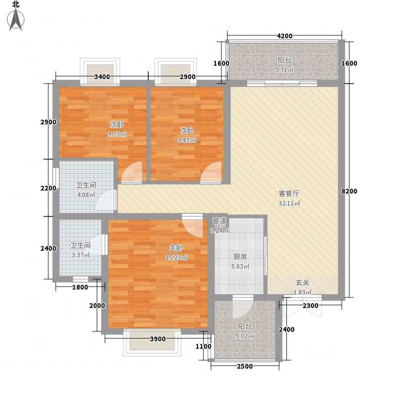 绿湾国际A2-C-1户型3室2厅2卫1厨