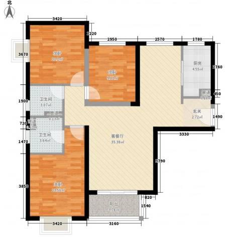 隆兴宜居3室1厅2卫1厨84.64㎡户型图