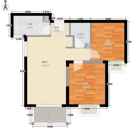 隆兴宜居2室1厅1卫1厨82.00㎡户型图