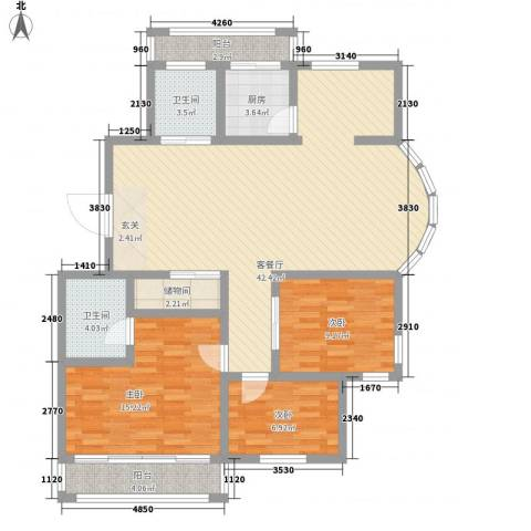 东城水岸3室1厅2卫1厨137.00㎡户型图