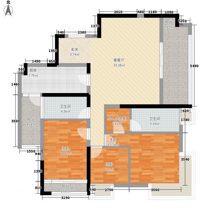 万力时代143.40㎡6B户型3室2厅2卫